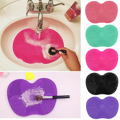 Silicone Makeup Brush Cleaner Cleaning Cosmetic Scrubber Board Mat Pad Tool AU