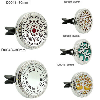 Stainless Steel Car Vent Clip Aroma Locket Air Freshener Essential Oil Diffuser