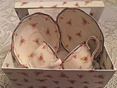 Set of Two Beautiful, Porcelain Rose Tea Cups and Saucers in Rose Covered Box