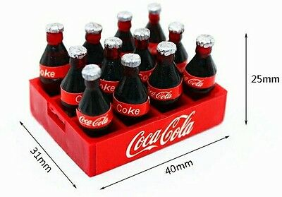 Dollhouse set of 12 coke bottles with crate 1:12 scale