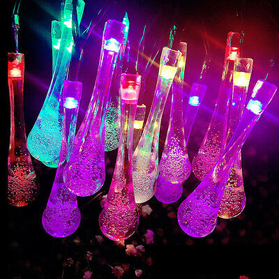 LED Solar Raindrop Party String Fairy Waterproof Outdoor Lights Garden Xmas