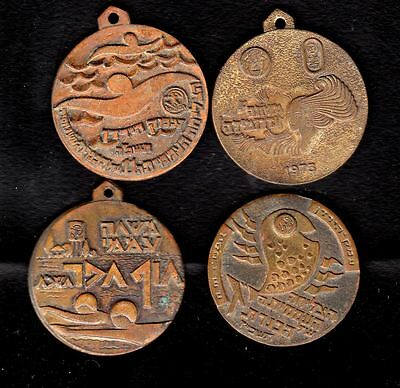 """4 ISRAEL BRONZE MEDALS, PRIVATE ISSUE , """"SEA"""" , 35mm*4"""