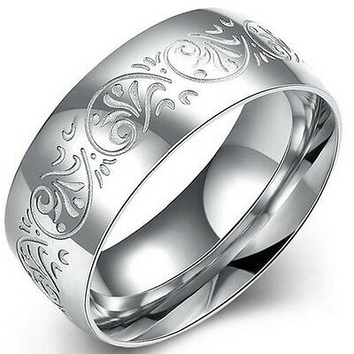 Size 5-15 Stainless Steel Florentine Ring Wedding Band Anniversary Statement