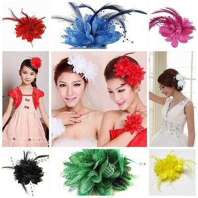 Women Flower Feather Hair Clip Corsage Fascinator Wedding Party Hair Pin Brooch