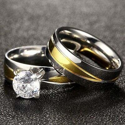 Size 6 7 8 9 Stainless Steel Wedding Engagement Solitaire Ring set two-Tone