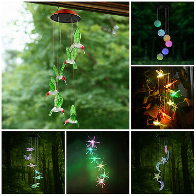 Solar Powered LED Hummingbird Color Changing Wind Chimes Light Home Garden Decor
