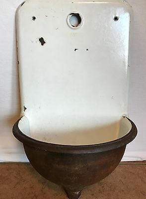 Antique ~ French C.1900 White Cast Iron Lavabo Wall Sink Fountain