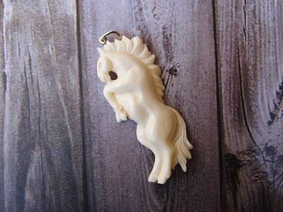 Pendant Necklace Pegaus Horse From Buffalo Bone Carved Silver 925_b156