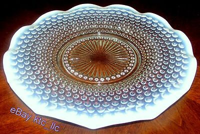 """ESTATE: Anchor Hocking OPALESCENT MOONSTONE Hobnail RUFFLED GLASS 10.75"""" PLATE"""