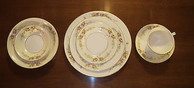 Vintage Harker Pottery China Shadow Rose #1790 7 Piece Place Setting Gold Trim