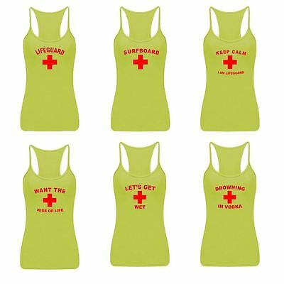 Womens Life Guard Print Vest Ladies Girls Sleeveless Sports Gym Casual Top