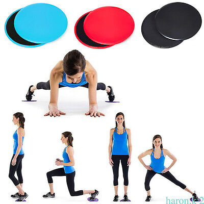 2 PCS Fitness Gliders Double-Sided Core Sliders Gym Training Blue/Red/Black
