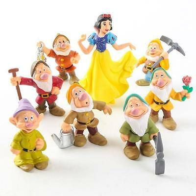 1 Set Figures PVC Snow White And The Seven Dwarfs Dwarves Disney Cake Toppers