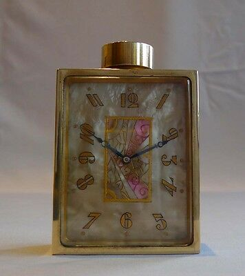 Art Deco ormolu and onyx boudoire clock in the shape of a perfume bottle