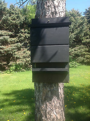 ^v^ ^v^NEW LARGE CHAMBER BLACK KEVLAR LINED BAT HOUSE BOX WITH PREDATOR GUARD