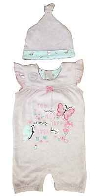 Baby Girls Romper Hat 2 Piece Pink Outfit Set Ex Uk Store 0-12M Brand New