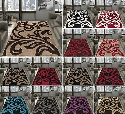 Luxurious Carpet Rug Soft Floral Design Floor Mats Non Shed Small Medium Large