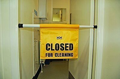 Wet Floor Sign - Hanging 'Closed For Cleaning' Door Barrier Safety Sign Fits 27