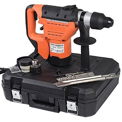 Electric Rotary Hammer Plus Demolition Bits Variable Speed Orange SDS Drill