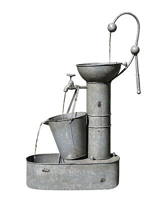 Designer Rustic Metal Bucket Indoor Outdoor Water Feature Fountain + Pump + WTY