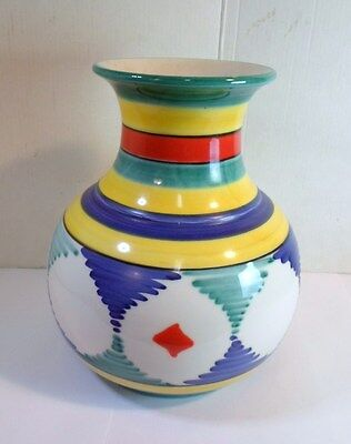 Vintage ART DECO ART POTTERY VASE Made In ITALY Geometric Ethnic Patterns Colors