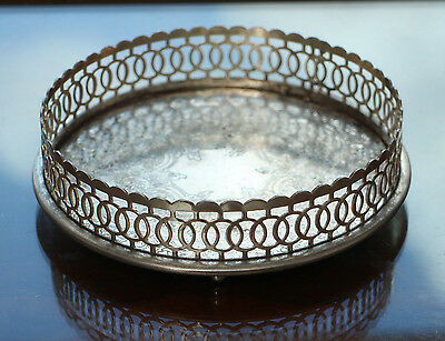 Vintage silver plated bottle coaster / stand / table protector for up to 4.5""