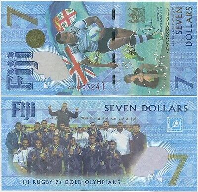 Fiji 7 Dollars 2016 (2017) UNC, Rugby 7s Gold Olympians Commemorative, Low S/N