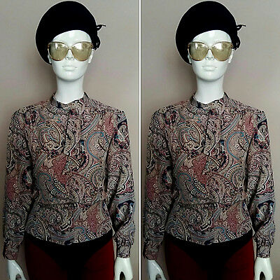 Vintage 1980's Long Sleeved Beige Paisley Blouse by Eastex. Size 12.