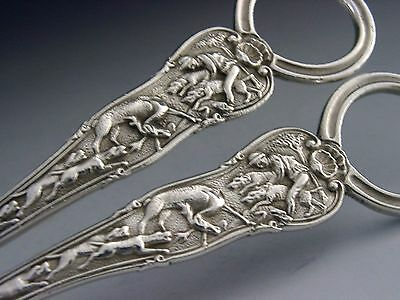 RARE SILVER PLATED STAG HUNT PATTERN GRAPE SHEARS c1890-1910 ANTIQUE PAUL STORR