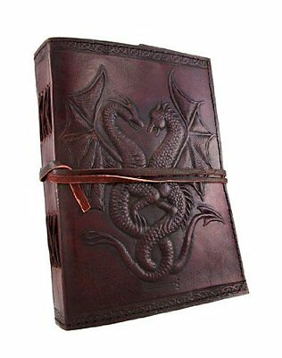 Embossed Notebook Blank Paper Leather Bound Journal Dragons 120 Leaf Art Drawing