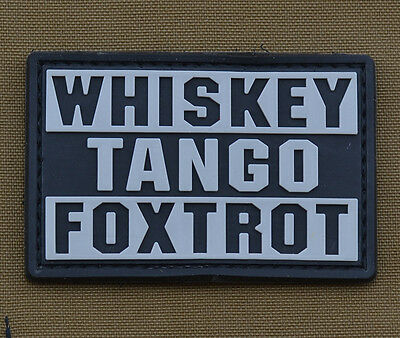 """PVC / Rubber Patch """"Whiskey Tango Foxtrot"""" with VELCRO® brand hook"""