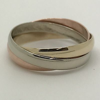 9Carat (9ct) Gold Russian Wedding Bands - Three Colour Gold - Size O - 3.33g