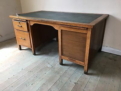 Vintage 1950s Light Oak Writing Desk With Leather Top