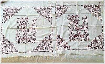 Vintage Antique Red Work Pillowcases Covers Set 2 Signed Birds Redwork Linens