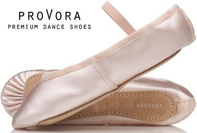 Pink SATIN proVora soft Ballet Pumps for girls/ children/ adult shoes. All sizes