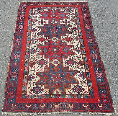 Antique Country House Shabby Chic Caucasian Kazak Rug  100+ Years Old