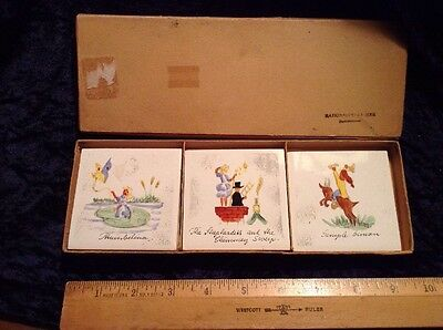 Vintage Lot of 6 Ceramic Tiles Hand Painted Made In Denmark W/Box FAIRY TALES