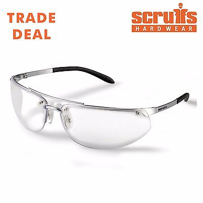 Scruffs Safety Glasses Eyewear PPE Metal Frame Clear Lenses Scratch Resistant UK