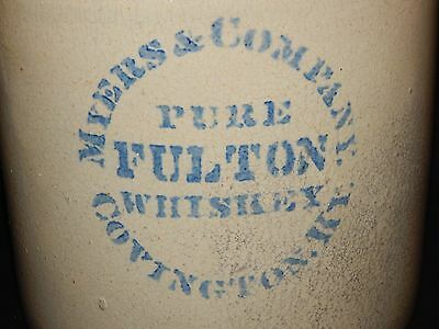 "Antique Meyers & Company - Pure Fulton Whiskey Jug - Covington,ky..13 1/4""  Tall"