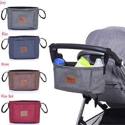 Stroller Organizer Baby Basket Pushchair Travel Diaper Nappies Storage Bag