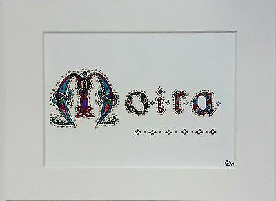 Framed Personalised Hand Drawn Name In Celtic Lettering