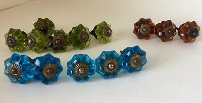 LOT of 14 Glass Knobs Drawer Pulls Blue Green Amber 1-1/2 #39-70B