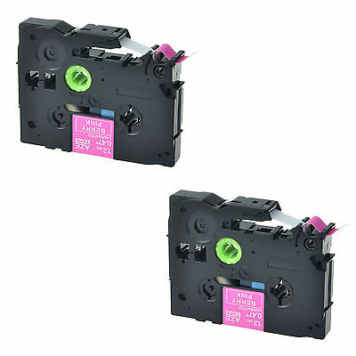 2PK TZ TZe-MQP35 White on Berry Pink Label Tape For Brother PTouch PT-D600 1/2''