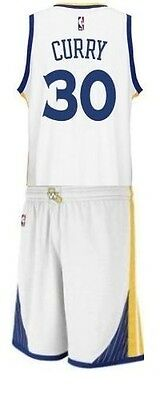 Completo Canotta+Panta Collezione-Basket Nba-Golden State Warriors-Curry-Bianca