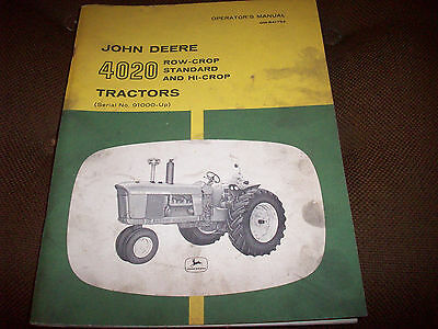 Original John Deere 4020 Tractor Operator's Manual (SN 91000-Up)