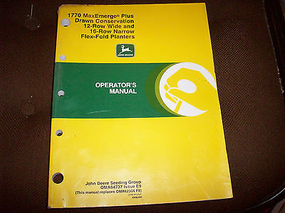 John Deere 1770 MaxEmerge Plus Drawn Conservation 12-RW 16-RN Planter Manual