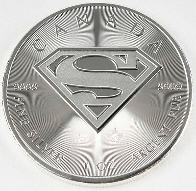 2016 Canadian Superman , Silver Bullion Coin 1 Oz .9999 Silver