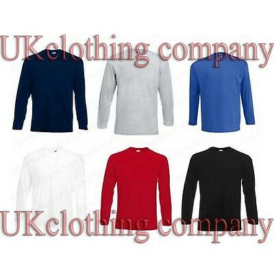 Adult Valueweight Fruit of the Loom Long Sleeve Cotton t-shirt - mens tops