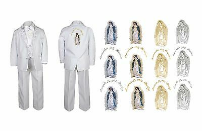 New Born Boy Christening Baptism White Tux Virgin Mary Maria Guadalupe back Sm-7