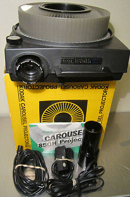 Kodak Carousel 850H Slide Projector Working w/ 2 Lenses, Manual, Remote, Tray